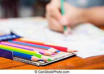 el, niña, es, Pintura, en, colorido, Libros,