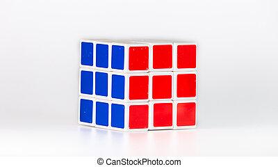 rubik, 3x3, en, blanco, Plano de fondo,