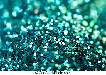 Holiday shiny blurry turquoise background Macro