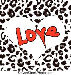 Heart with leopard print texture pattern. Vector background