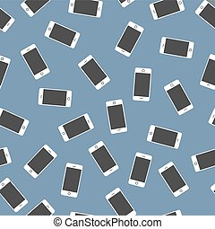 Many white smartphones on blue background seamless pattern -...