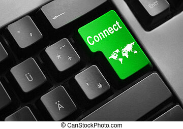 keyboard green enter button connect world map - dark grey...