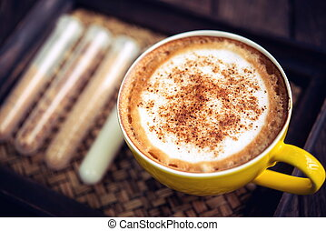 coffee mocha hot on wooden table - coffee mocha hot and...