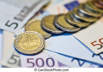 Euro cents and banknotes background