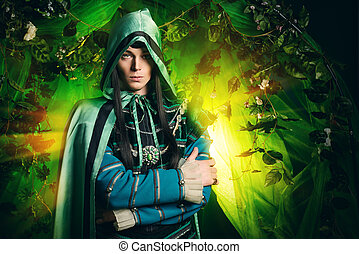 prince elf - Noble fairy elf in the magic forest Fantasy...