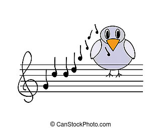 musical bird - nice illustration of musical bird isolated on...