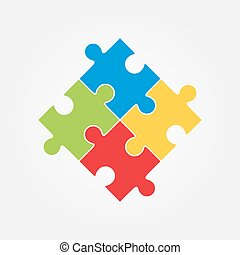 Vector illustration of four colorful puzzle pieces - Four...