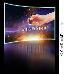Migraine - writing word Migraine with marker on gradient...