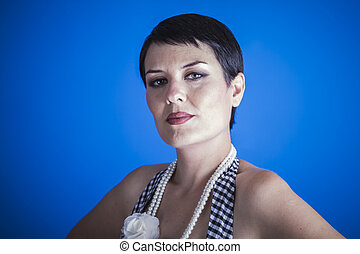 style girl 50s on blue chroma