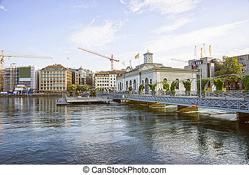 Geneva lake quay in summertime - Geneva embankment in...