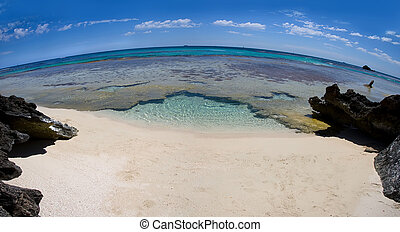 Deserted beach through a fisheye lens - View of a deserted...