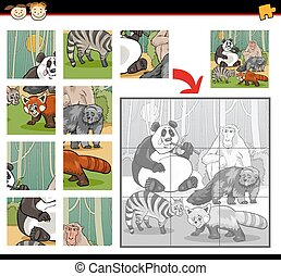 wild mammals jigsaw puzzle game - Cartoon Illustration of...