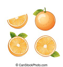 Orange fruit isolated. - Orange fruit half and...