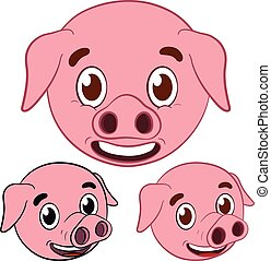 cute pig cartoon head set - smiling cute pig cartoon drawing...