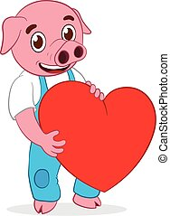 Happy cute pig with heart - Happy cute cartoon pig holding...