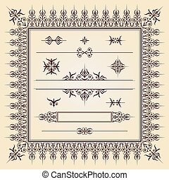 caligraphic_design_elements_002 - Set of ornamental artistic...