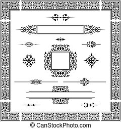 caligraphic_design_elements_003 - Set of ornamental artistic...