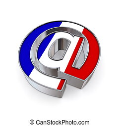 AT National - France - silver shiny chrome @-symbol on white...