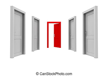 Take the Red Door - abstract hallway with gray doors - one...