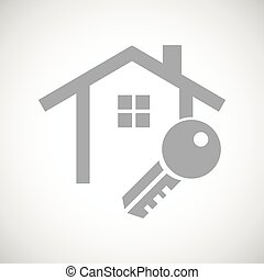 Grey house key icon - Grey image of house contour and key,...