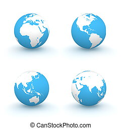3D Globes in White and Blue - four views of a 3D globe with...