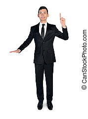 Business man presenting something - Isolated business man...
