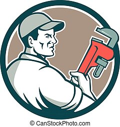 Plumber Monkey Wrench Side Circle Retro - Illustration of a...