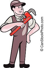 Plumber Pointing Monkey Wrench Standing Cartoon -...