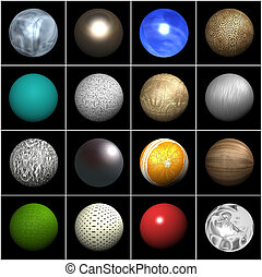 Balls with different textures - A lot of balls with...