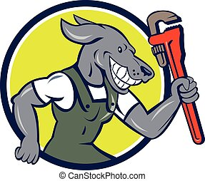 Dog Plumber Running Monkey Wrench Circle Cartoon