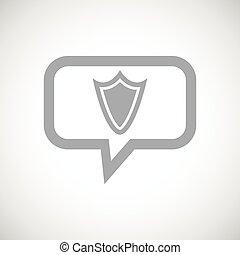 Shield grey message icon