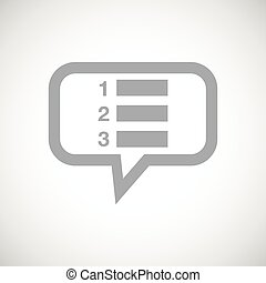 Numbered list grey message icon - Grey image of numbered...