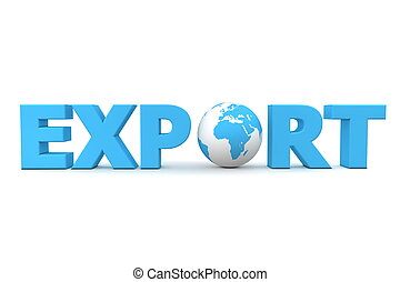Export World - blue word Export with 3D globe replacing...