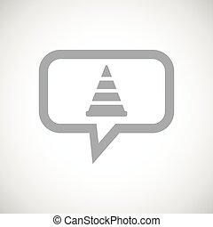 Traffic cone grey message icon - Grey image of traffic cone...