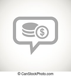 Dollar rouleau grey message icon - Grey image of dollar...