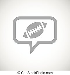 Rugby grey message icon - Grey image of rugby ball in chat...