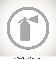Grey fire extinguisher sign icon - Grey image of fire...