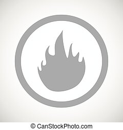 Grey fire sign icon - Grey image of flame in circle, on...