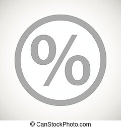 Grey percent sign icon - Grey percent symbol in circle, on...