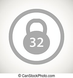 Grey dumbbell sign icon - Grey image of 32 kg dumbbell in...