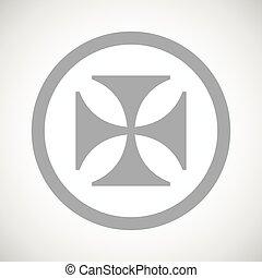 Grey maltese cross sign icon - Grey image of maltese cross...