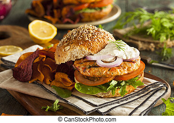Homemade Organic Salmon Burger with Tartar Sauce