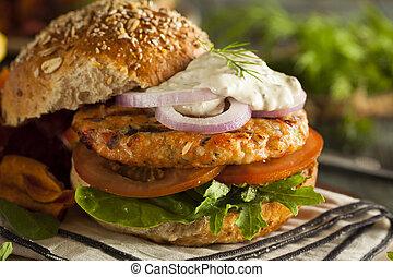 Homemade Organic Salmon Burger with Tartar Sauce
