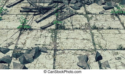 Old cracked pavement closeup - Old destroyed pavement with...