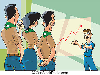 scouts group meeting - a group of scouts atendds a meeting