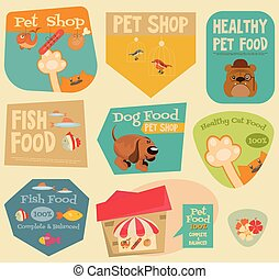 Pet Shop Stickers Set in Retro Style Flat Design Style...