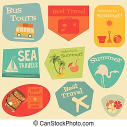 Flat Travel Stickers Set - Vacation Items in Retro Style -...