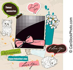 Scrapbooking elements set with kittens. - Pastel...