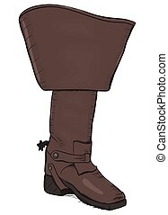 Old style boot with spurs EPS8 vector illustration