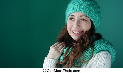 beautiful young woman in hat - beautiful young woman in a...